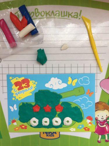 Аппликация из пластилина - открытка папе на 23 февраля