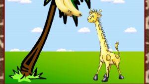 Вы только представьте, что были такие времена, когда у Жирафов не было такой длинной шеи, как сейчас. Однажды вышел Жираф погулять, как вдруг ему очень захотелось кушать. И тут Жираф увидел самые сочные и вкусные листочки на вершине дерева. Жираф стал тянуться, тянуться и его шея стала длиннее.
